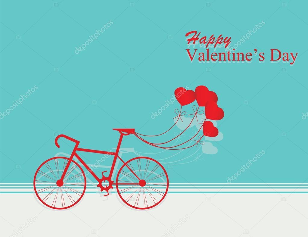 48d5171c1eb97 Tarjeta para el día de San Valentín con bicicleta y globos de corazón sobre  fondo azul