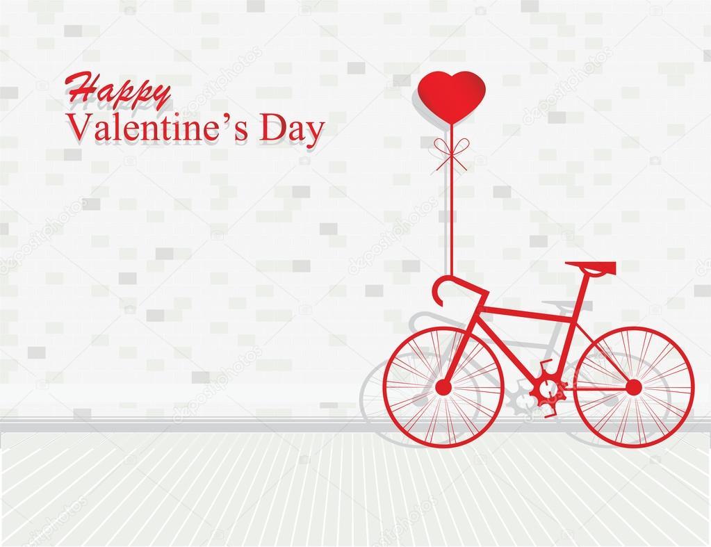 1c32de9b8de66 Tarjeta para el día de San Valentín con corazón bicicleta y globos en  ladrillo pared de fondo