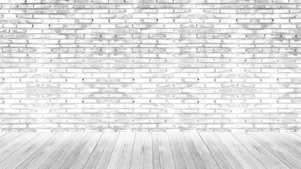 White Brick Wall And Floor Wood Texture Background Stock Photo Image By Aekkorn Yahoo Com 89873728