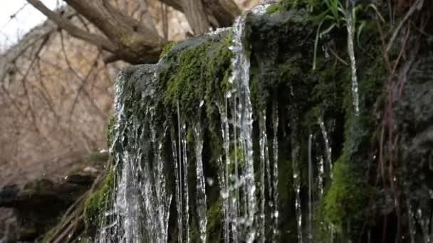 Märchenrutsche in den Bergen mit glänzenden Tropfen, die auf bemooste Steine fallen in slo-mo Wunderbarer Blick auf magische Wasserfälle in den Bergen mit fallenden Blobs, die an einem sonnigen Tag im Sommer in Zeitlupe leuchten und alte bemooste Steine gießen
