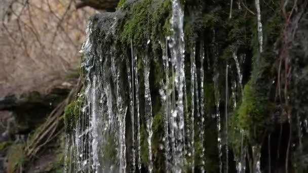 Funkelnder Wasserfall in den Bergen mit leuchtenden Perlen und Klecksen, die auf Steine fallen in slo-mo Wunderbarer Blick auf fröhliche Wasserfälle in den Bergen mit fallenden Tropfen, die an einem sonnigen Sommertag in Zeitlupe leuchten und alte moosige Steine gießen