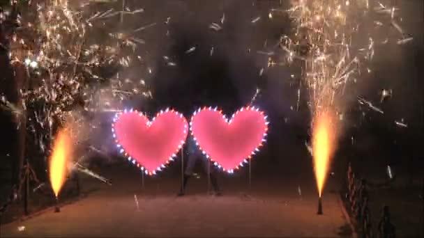ohňostroj se dvěma srdce