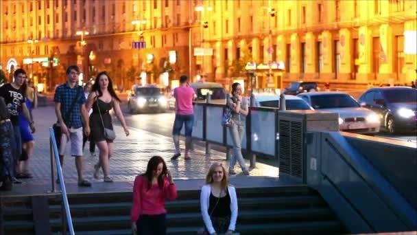 People walk on the main street