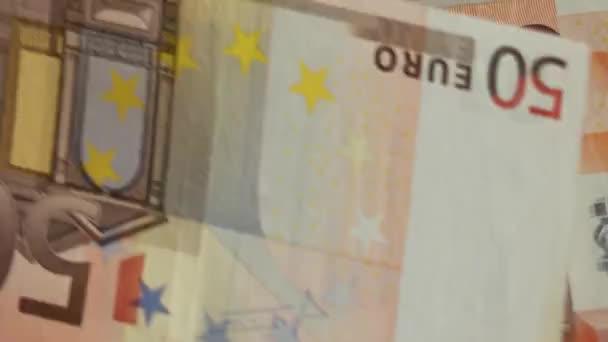 Uzavřít záběr rukou počítání peněz 50 Euro bankovky