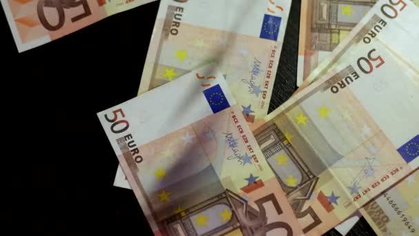 Counting Euros. Euro Banknotes Falling Down to Table