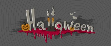 Fanny Halloween banner with lettering, pumpkins, dripping blood, candles, bats and eye