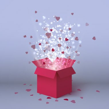 Happy Valentines day isolated gift box. Red hearts coming out from gift box. Pink red gift present with flying hearts for holiday design.Hearts explosion. Love is in the air. Love box. Heart explosion. Valentines day banner for holiday. Pink gift box
