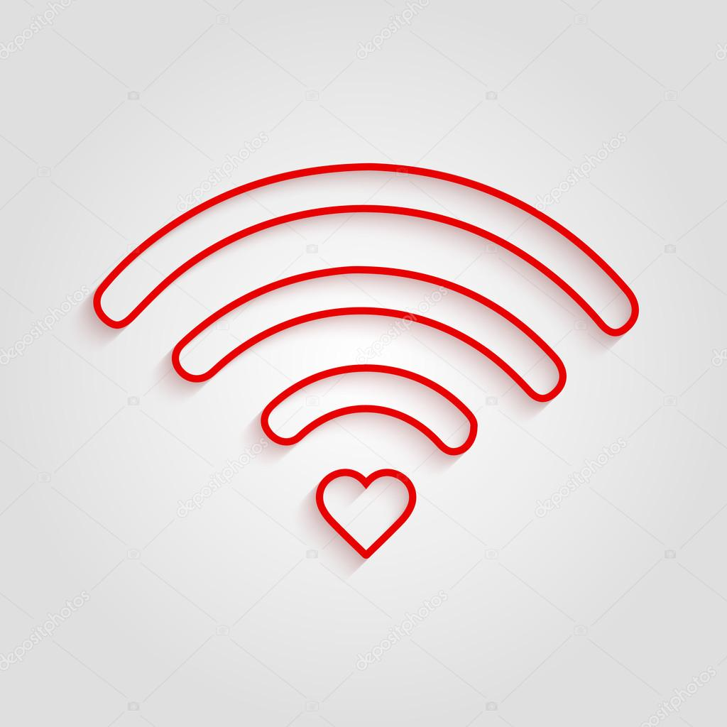 heart shape and wifi sign happy valentine u0027s day outline trendy
