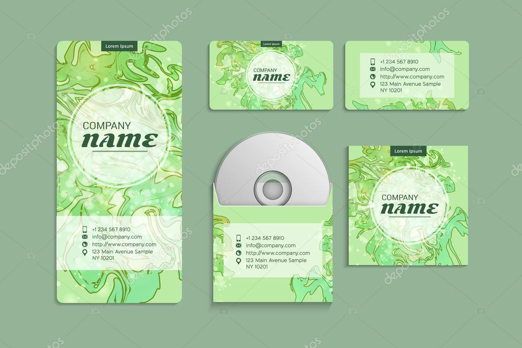 corporate identity vector template set with abstract watercolor
