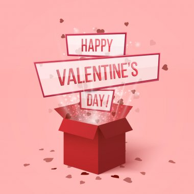 Happy valentines day.Valentines day gift box.Red hearts coming out from gift box. Set of red gift presents with flying hearts for holiday design.Hearts explosion.Love is in the air. Love box.Lettering. Delivery red box. Magic love box. Flying hearts clip art vector