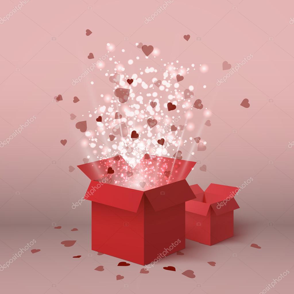 Fröhlichen Valentinstag Valentinstag Geschenk Box Rote Herzen