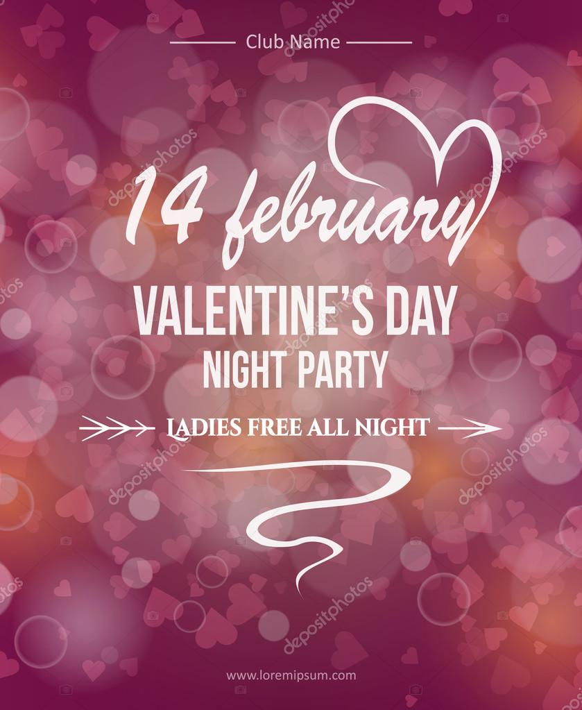 Valentine S Day Banner Event Poster 14 February Night Party