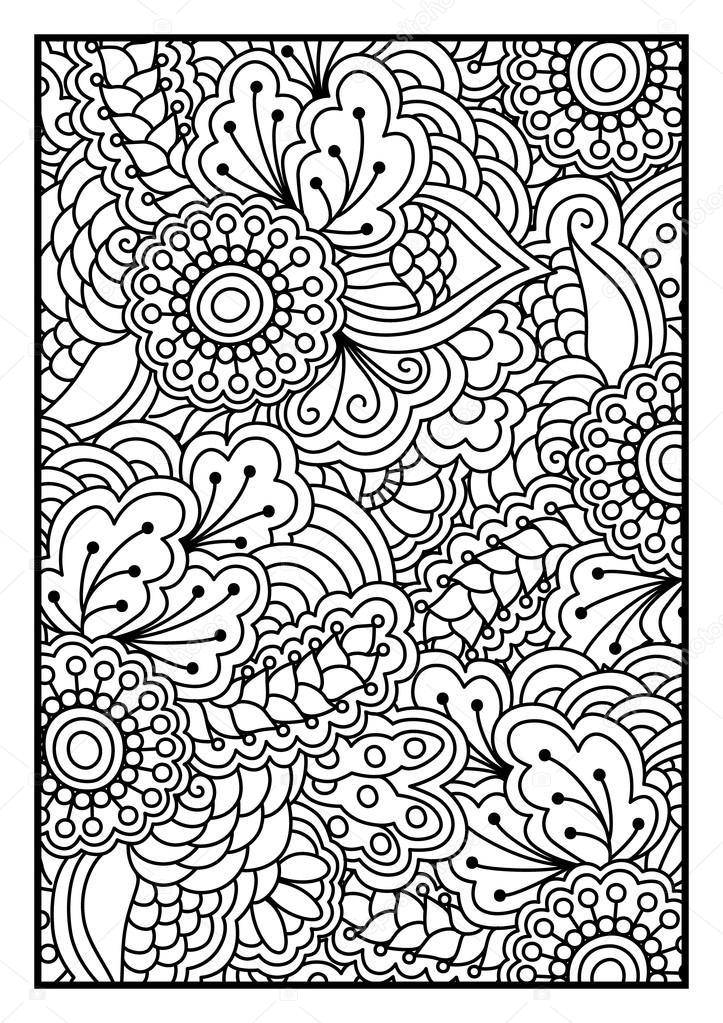 Patrón de flores para colorear libro — Archivo Imágenes Vectoriales ...