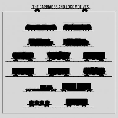 Set of locomotives and freight wagons