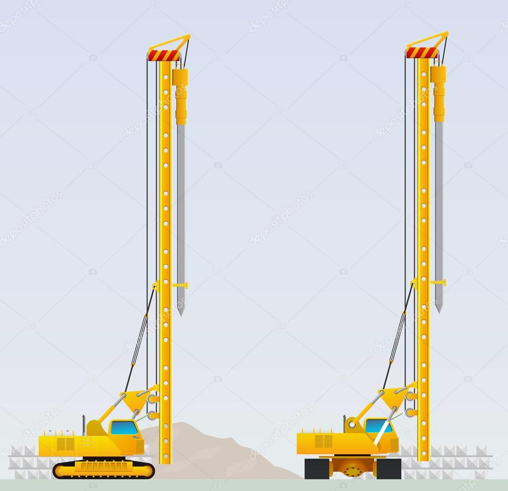 Piling machine before clogging piles — Stock Vector