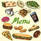 Cover for menu. Fast food. Burger, french fries, sandwich, wrap, pizza, salad, soda, donut, fried chicken wings, ice cream.