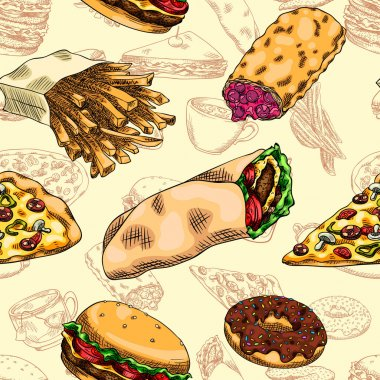 Seamless background with a pattern of fast food. Burger, pizza, hot dogs, coffee, tea, soda, mineral water, pita, fried chicken, french fries, potato wedges, sweet berry pie, donut, sandwich