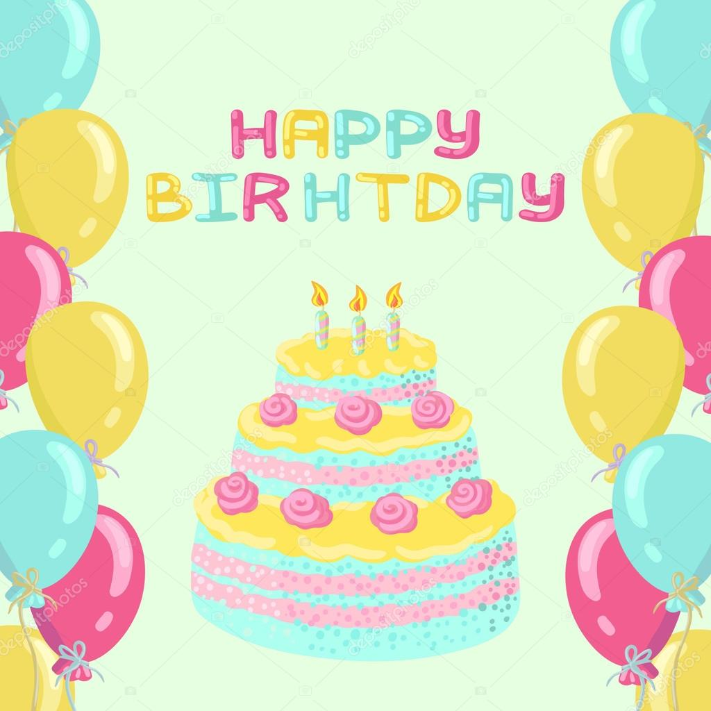 Miraculous Greeting Birthday Card With Pink Blue And Yellow Balloons The Funny Birthday Cards Online Ioscodamsfinfo
