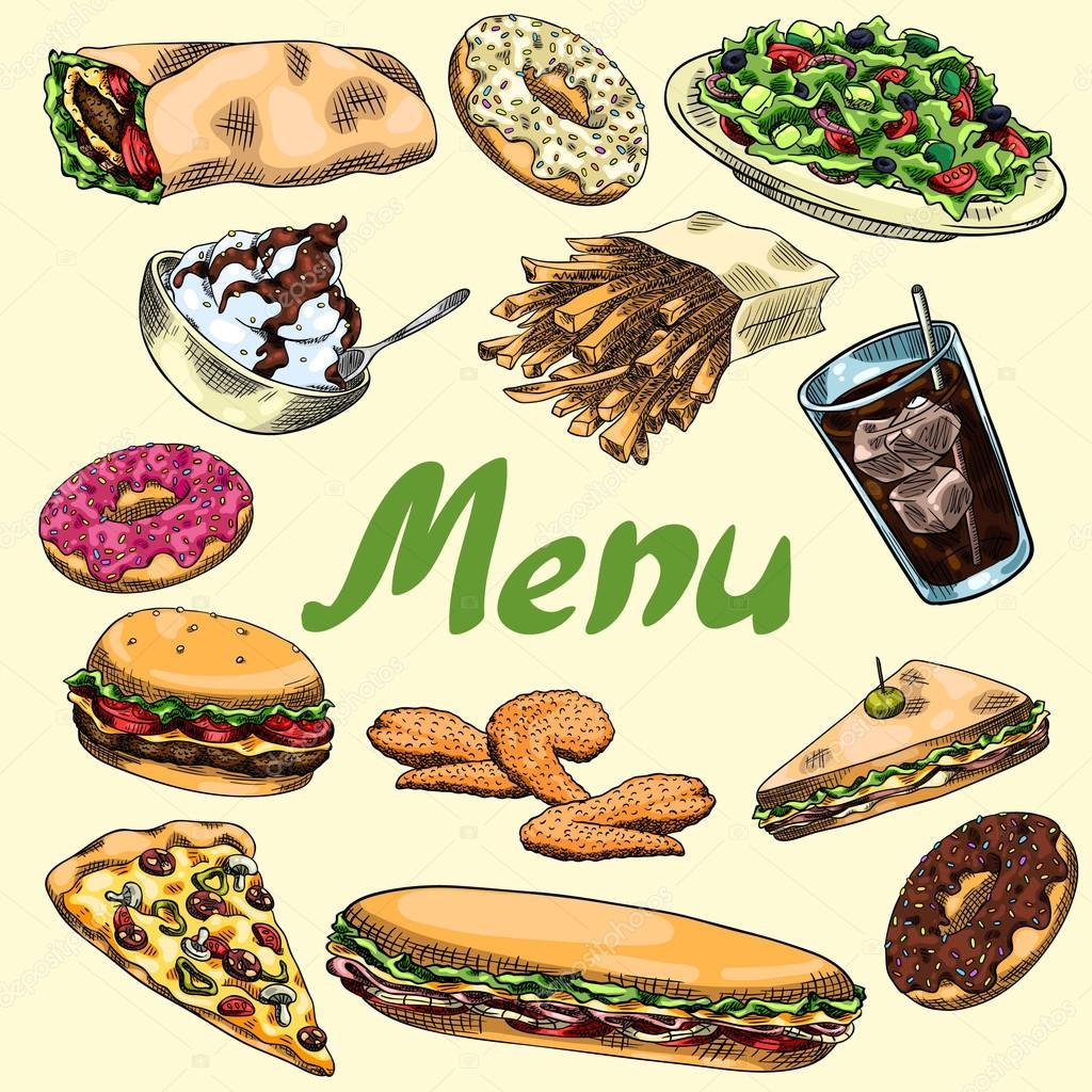 couverture pour le menu restauration rapide burger fran ais frites sandwich wrap pizza. Black Bedroom Furniture Sets. Home Design Ideas