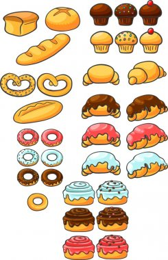 Bakery products. Sweets. Patty, bun, bread, pretzel, cupcake, muffin, croissant, donut