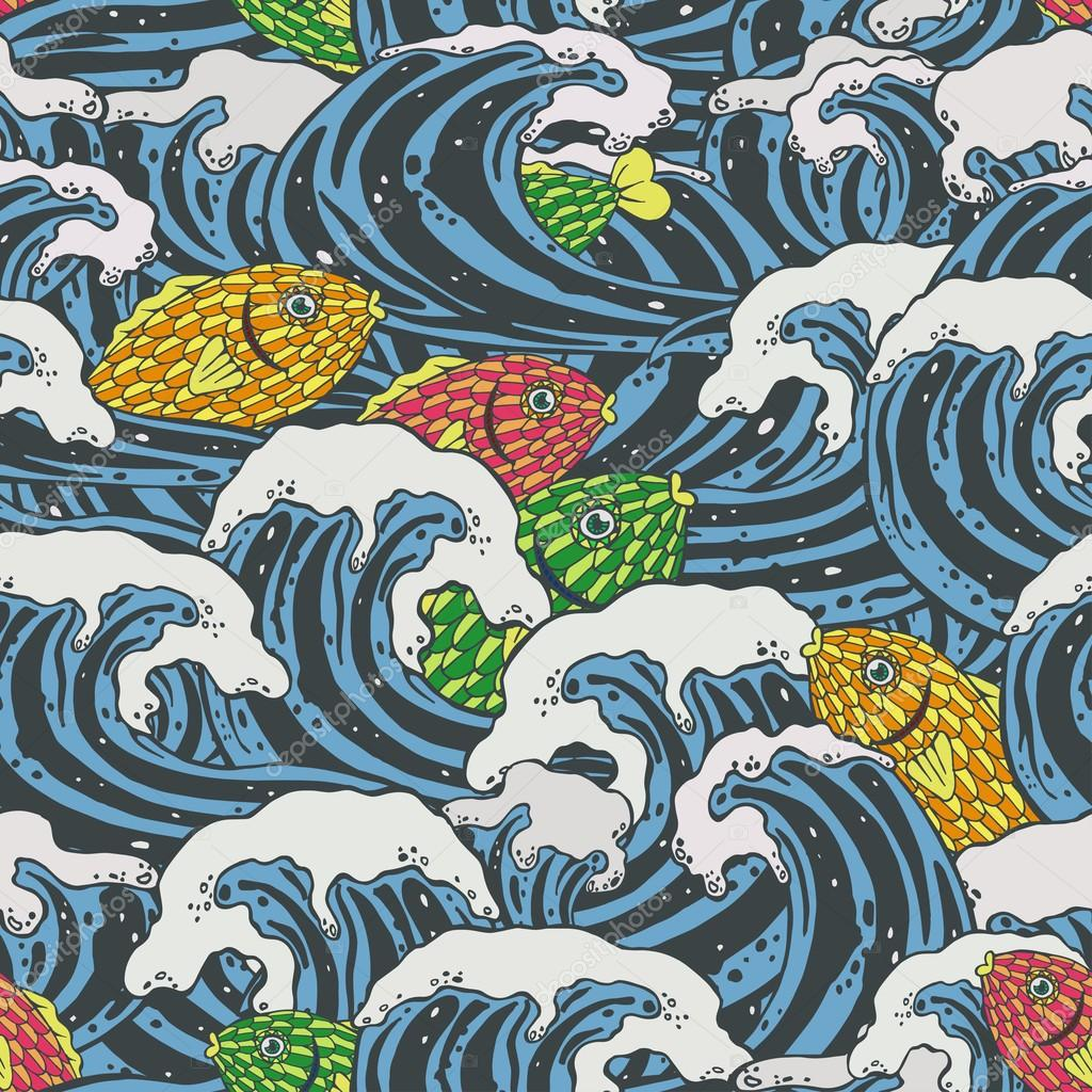 Sea waves and colorful fishes