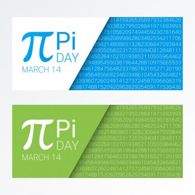 Set of colorful horizontal banners for Pi Day. Pi number, Pi sign,  mathematical constant, irrational number, greek letter. Abstract digital vector illustration.