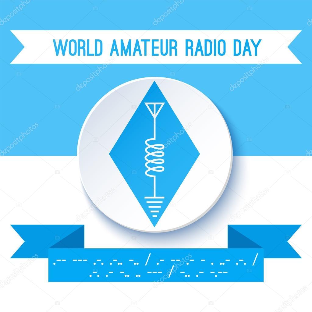 World Amateur Radio Day. Ham radio symbol, circuit diagram ... on