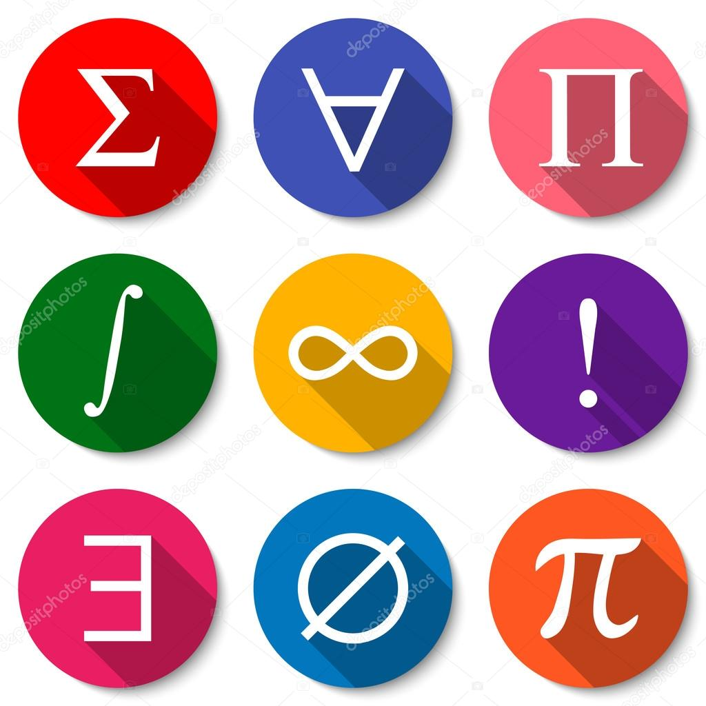 Mathematical Symbols Set Of Colorful Flat Math Icons With Long