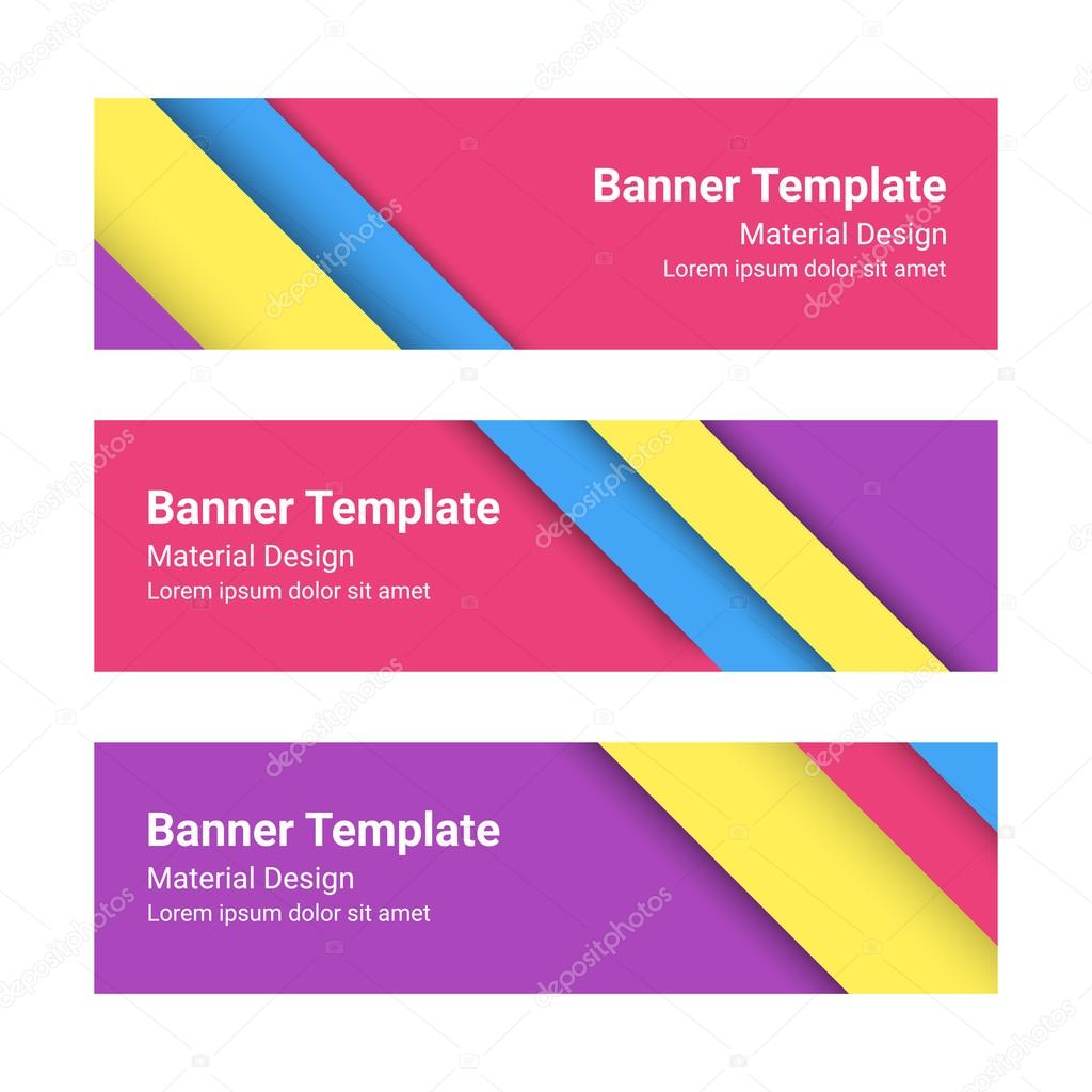 Design vector banner - Material Design Banners Set Of Modern Colorful Horizontal Vector Banners Page Headers In A Material Design Style Can Be Used As A Business Template Or In
