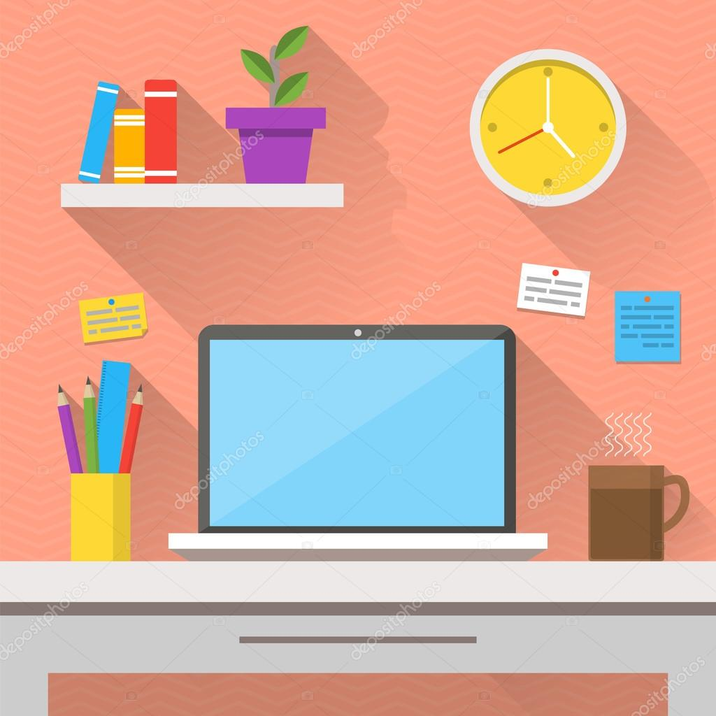 Flaches Design Vektor Illustration Des Modernen Interieur Kreative