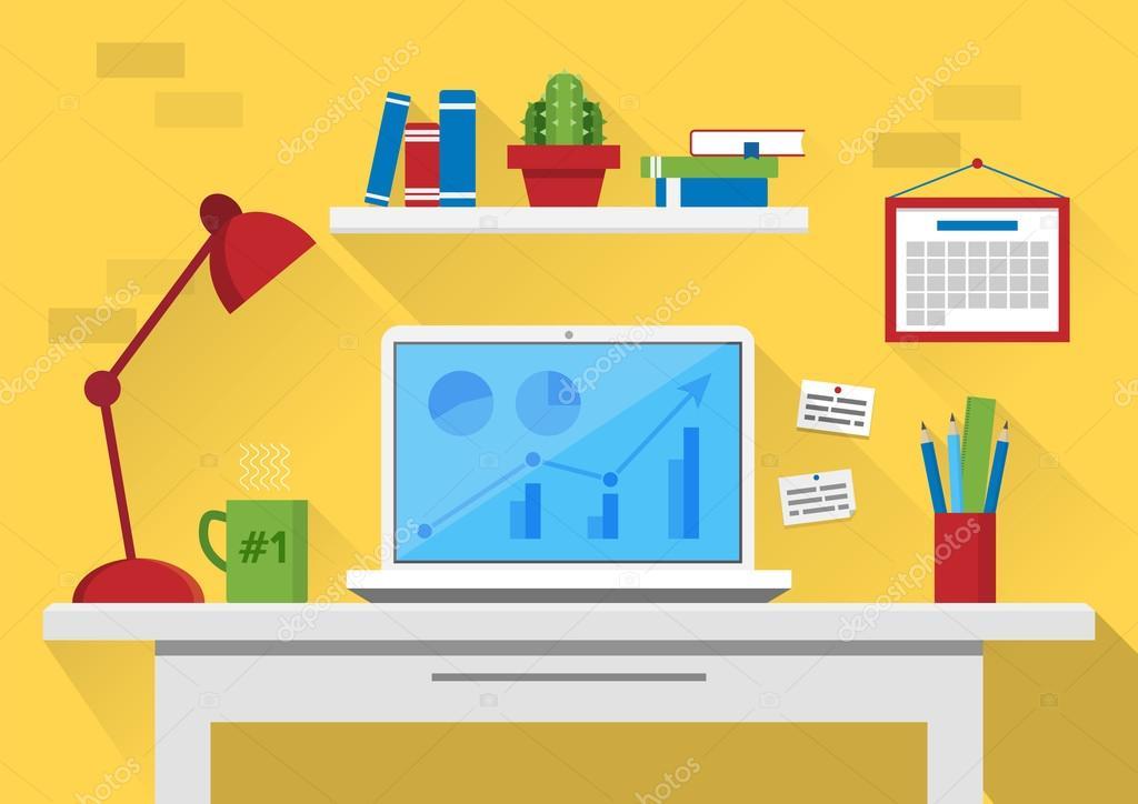 Ilustra o em vetor design plano do interior do escrit rio for Videos de oficina