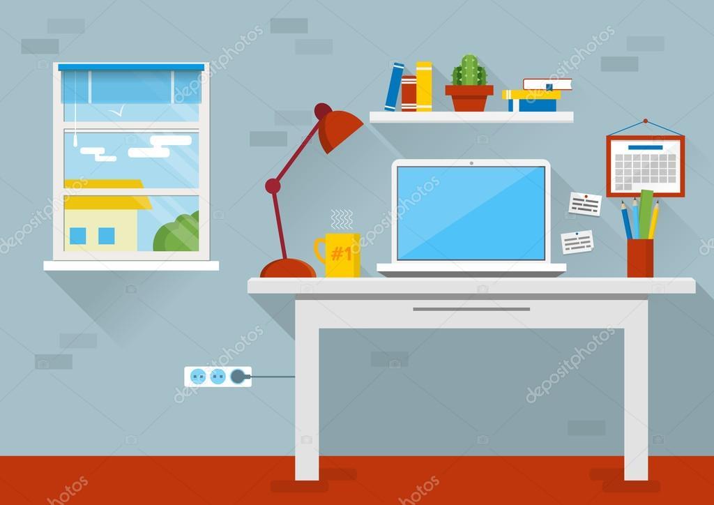 Ilustra o em vetor design plano do interior do escrit rio for Dibujo de una oficina moderna