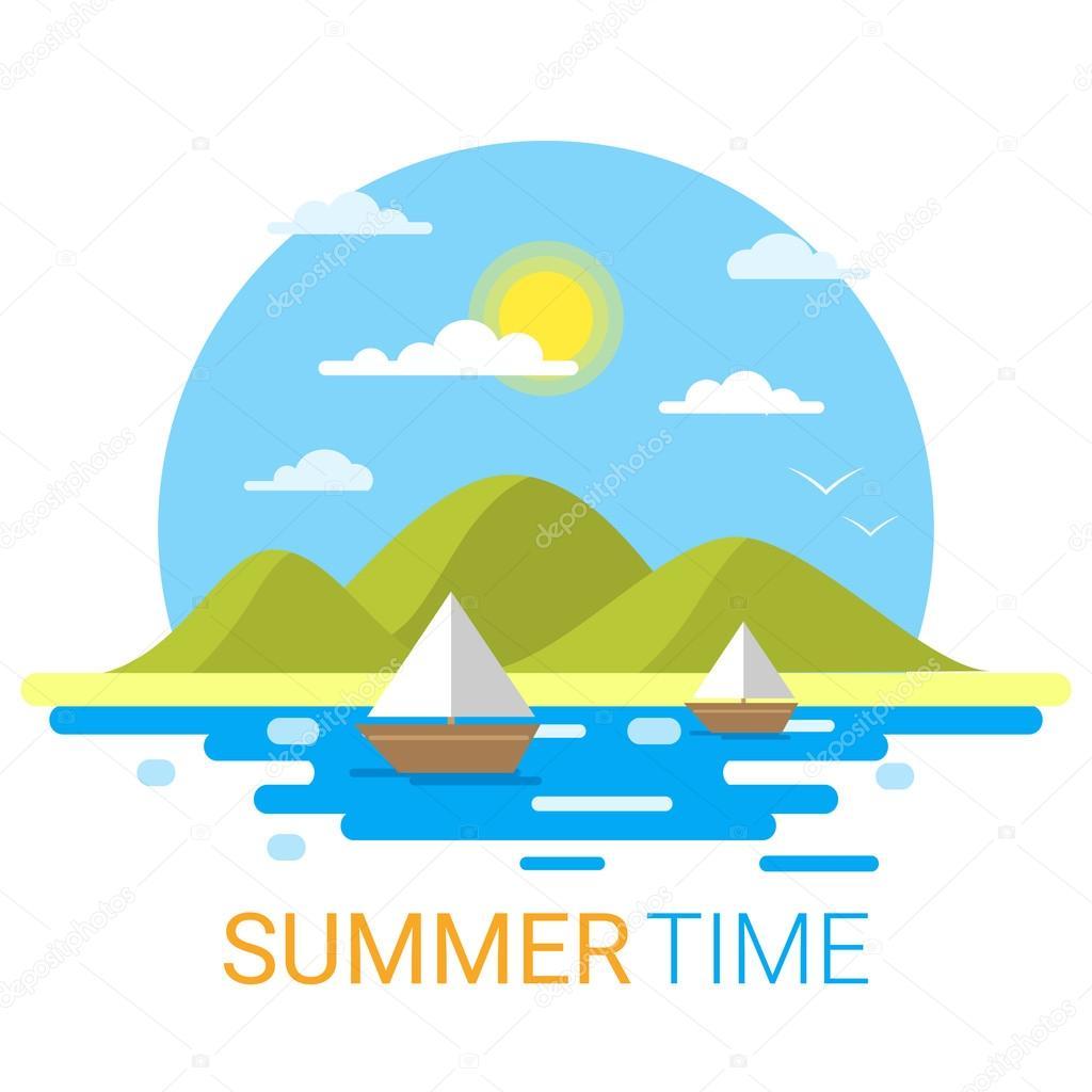 フラット夏ベクトルの風景。旅行と概念テンプレート太陽、雲、海を