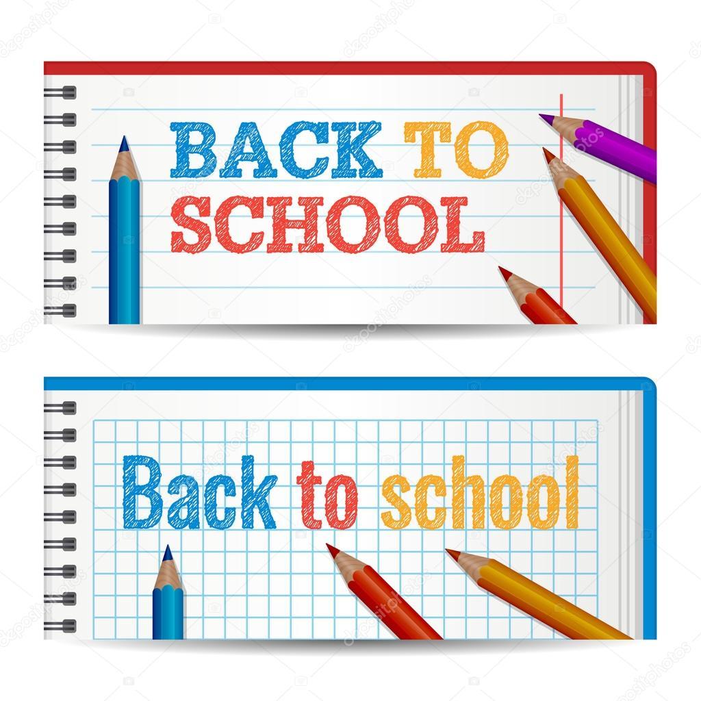 Plantilla moderna banners horizontales con regreso a la escuela a ...