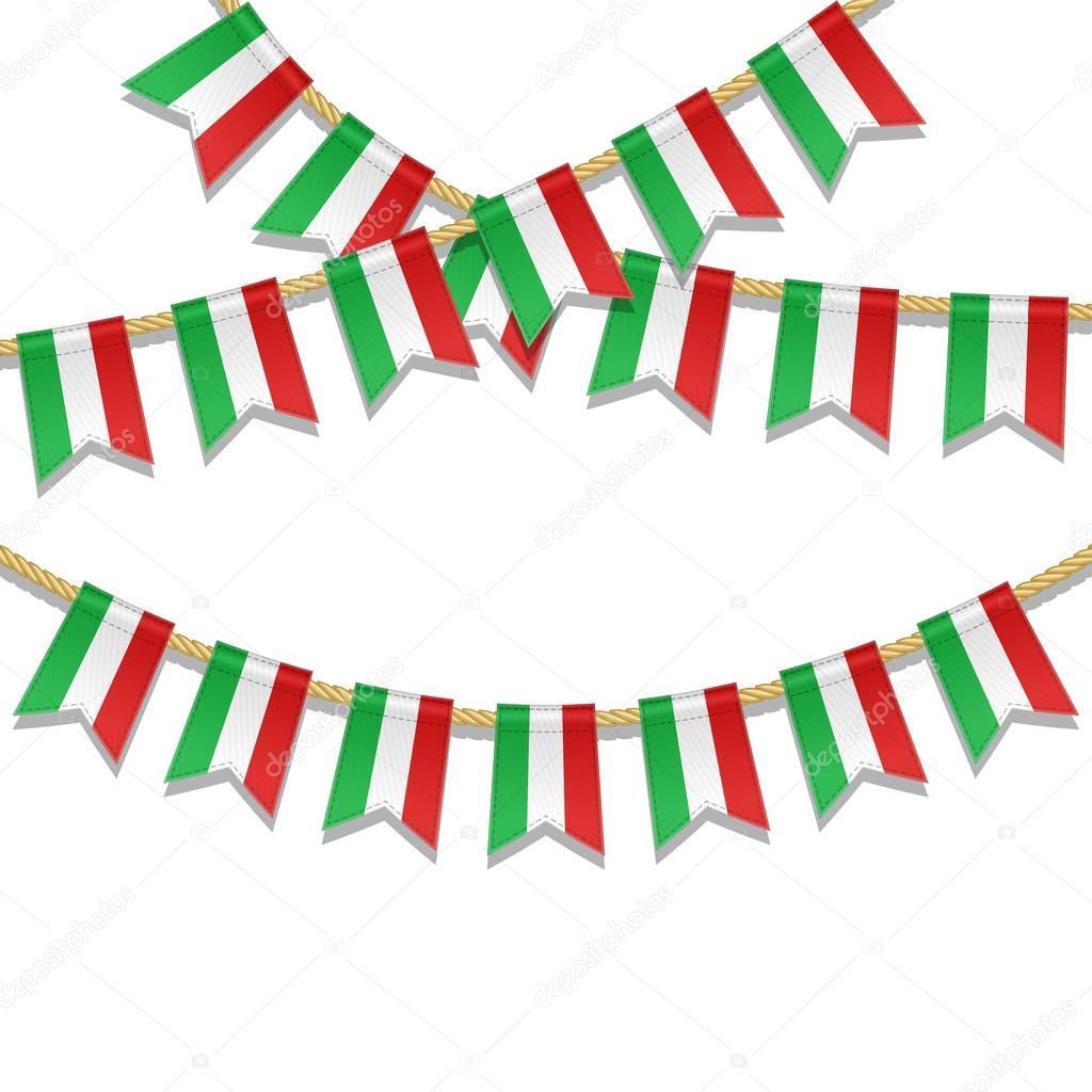 vector del empavesado colorido la decoracin en colores de la bandera italiana guirnalda de banderines en una cuerda para carnaval festival fiesta
