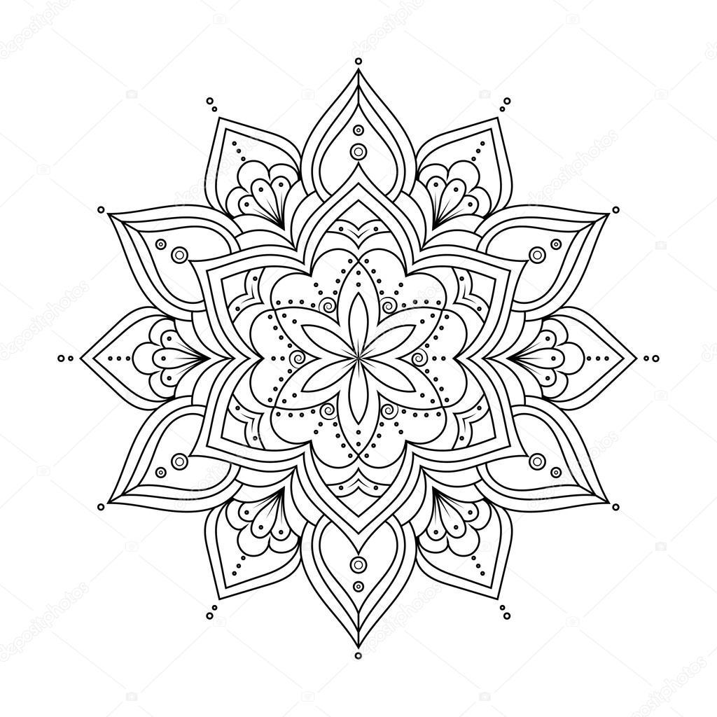 Mandala Boyama Kitabı Anti Stres Terapisi Desen Için Anahat Etnik