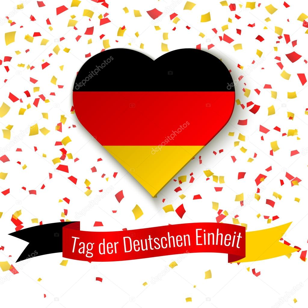 germany independence day background greeting card flyer poster for 3th october ribbon
