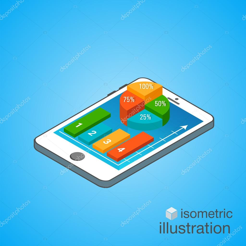 3D Smartphone with colorful graphs in the isometric projection. Modern infographic template. Isometric vector illustration