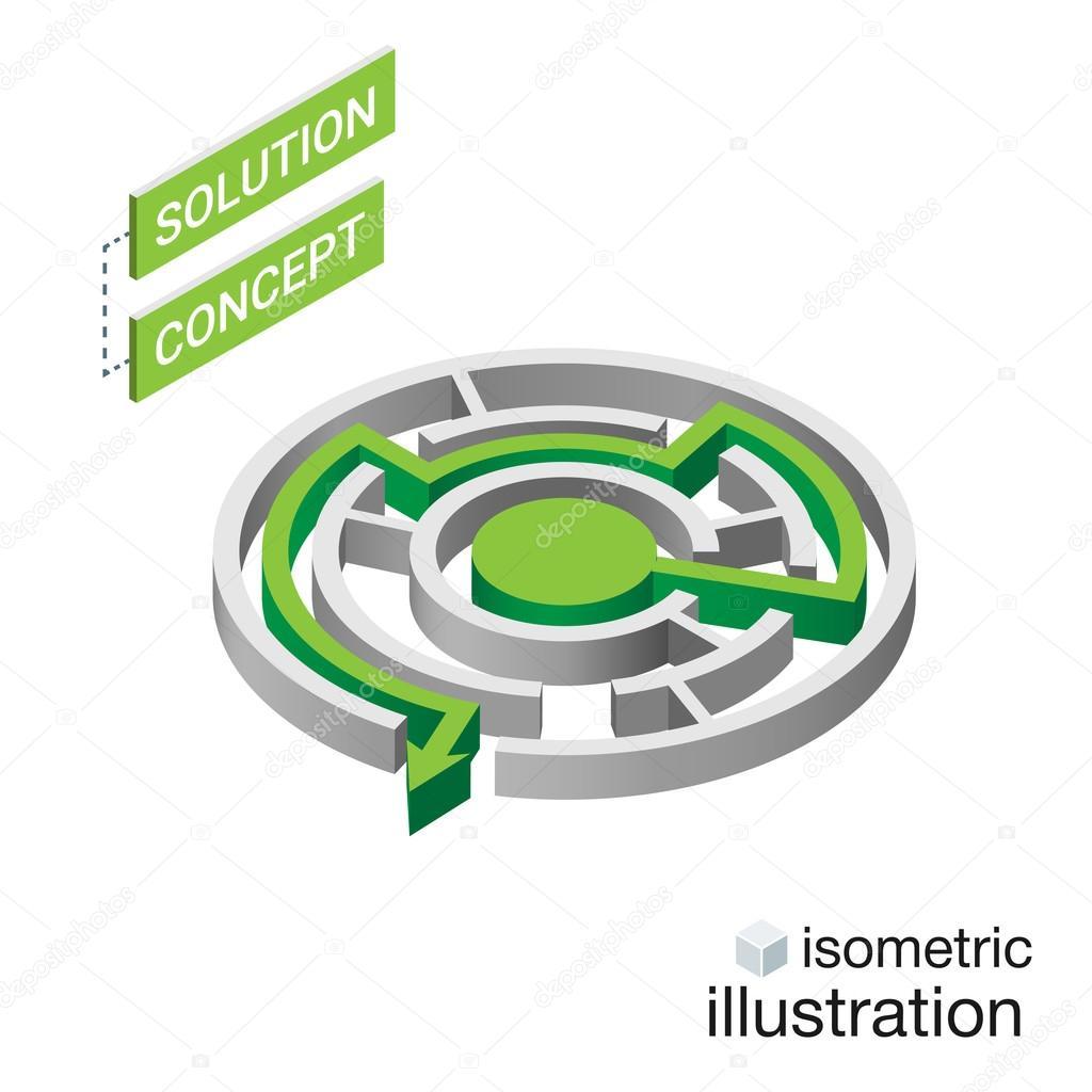 Laberinto de isométrico, concepto de solución del laberinto ...