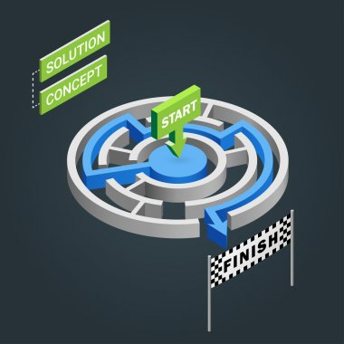 Isometric maze, labyrinth solution concept. Modern infographic template. Isometric vector illustration.