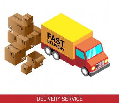 Isometric delivery car and set of cardboard boxes. Isometric vector illustration. Delivery service concept.