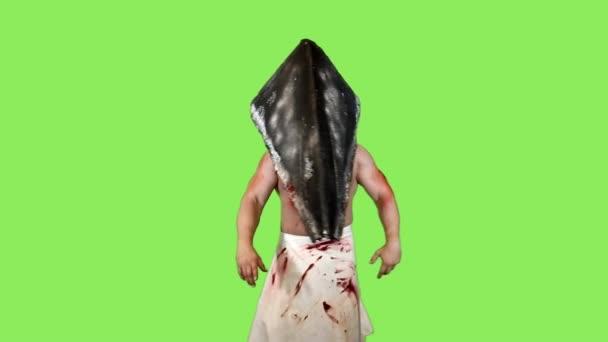 Charakter Silent Hill na zeleném pozadí