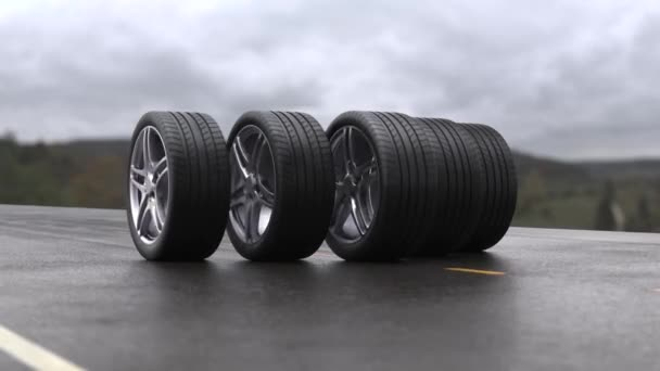 Loop four car wheels rolling on wet asphalt against the background of mountains