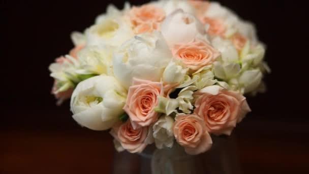 Wedding bouquet, rotates, closeup shot.