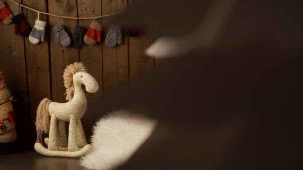 Vintage wall and wooden toy horse