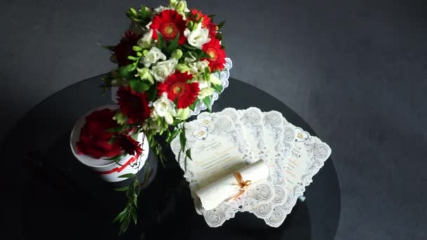 The brides bouquet on the table