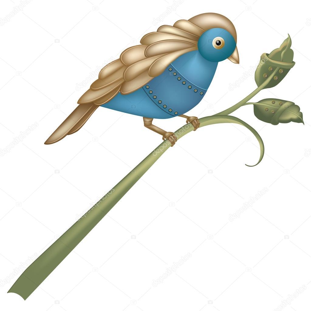 Steam-punk inspired mechanical blue bird