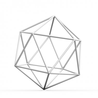 Geometric 3D object on white mathematical construction