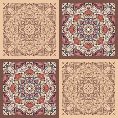 Seamless vector mandala tile pattern. Vintage decorative elements. Hand drawn background. Islam, Arabic, Indian, ottoman motifs.