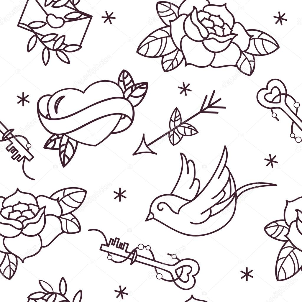Old school tattoo vector seamless pattern with roses